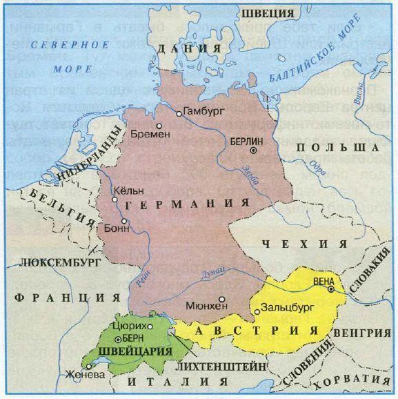 Карта центра Европы Германия Швейцария Австрия фото