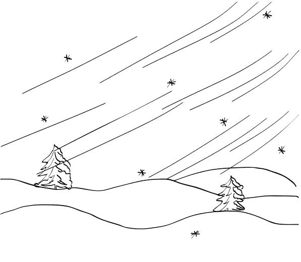 Рисунок метели карандашами