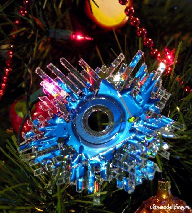 Новогодние игрушки своими руками из компакт дисков