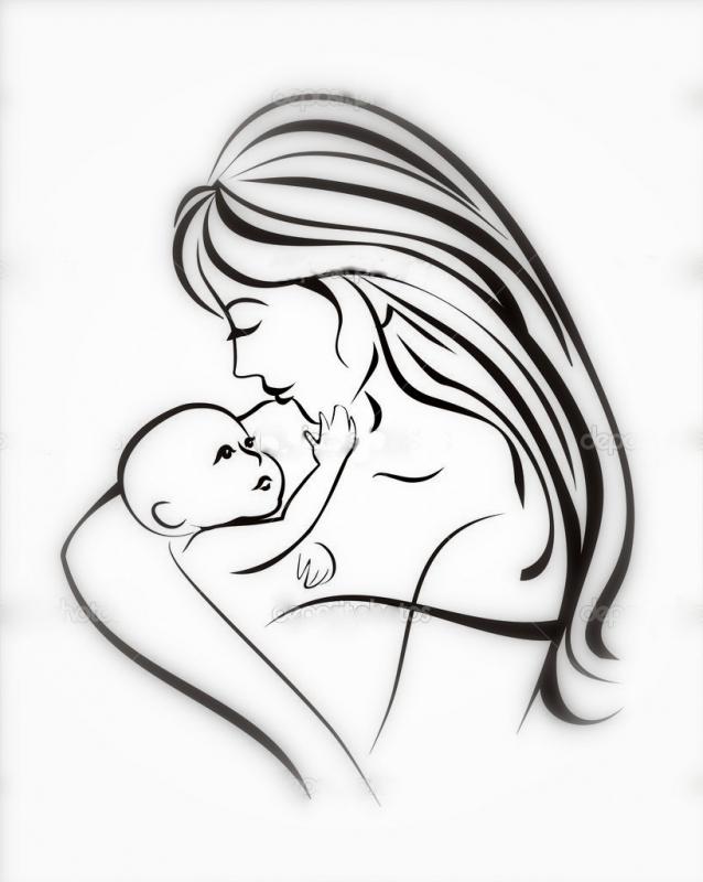 Мать и ребенок рисунок в карандаше