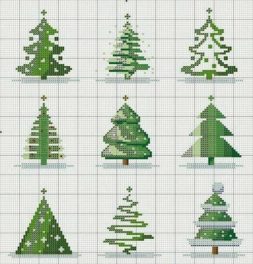 шаблон елки на Новый год для вышивки крестиком