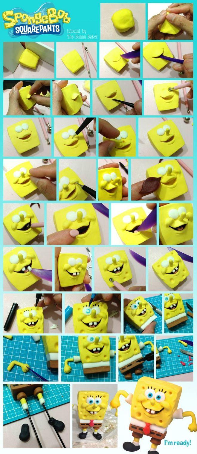 Как сделать губку боба из губки своими руками
