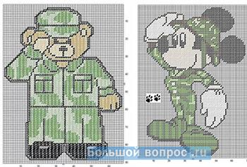 Мишка и Микки-Маус - военные схема вышивки крестиком на 23 февраля