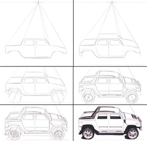 Как нарисовать джип карандашом