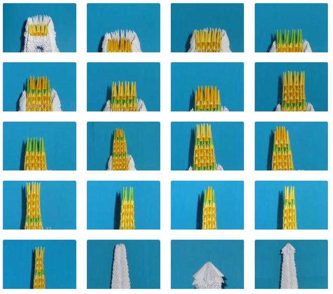 Как сделать из оригами лебедя схема