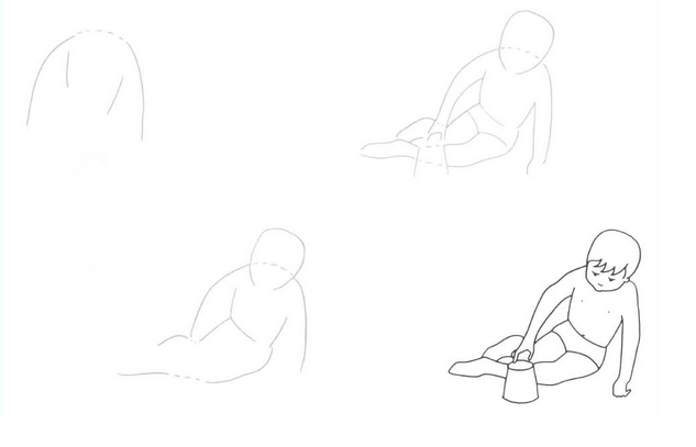 Как нарисовать мальчика сидящего поэтапно