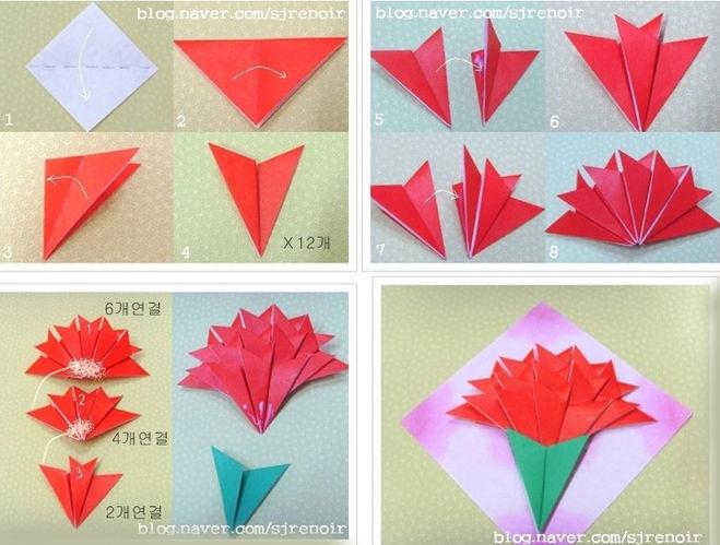 Как сделать гвоздику из цветной бумаги на открытку поэтапно?