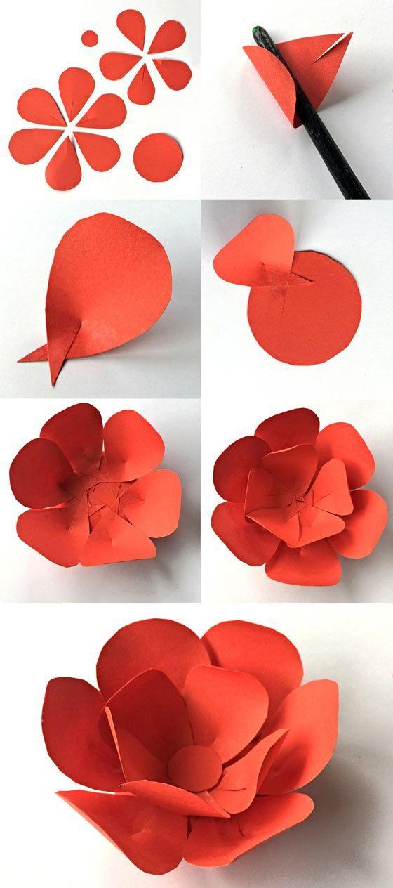 Как сделать объемный цветок схема 597