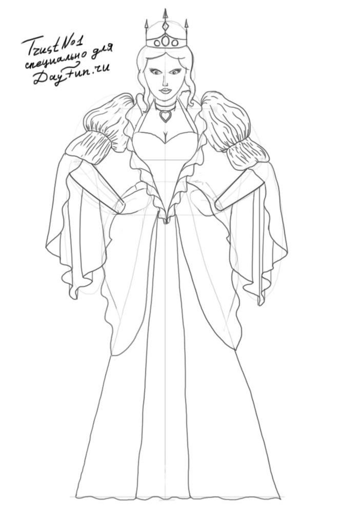 Рисуем снежную королеву поэтапно