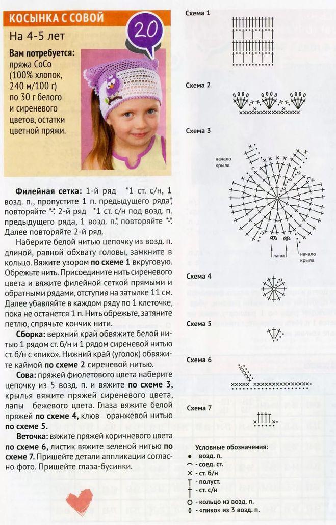 Кружевная бандана для девочки крючком - описание, схемы фото