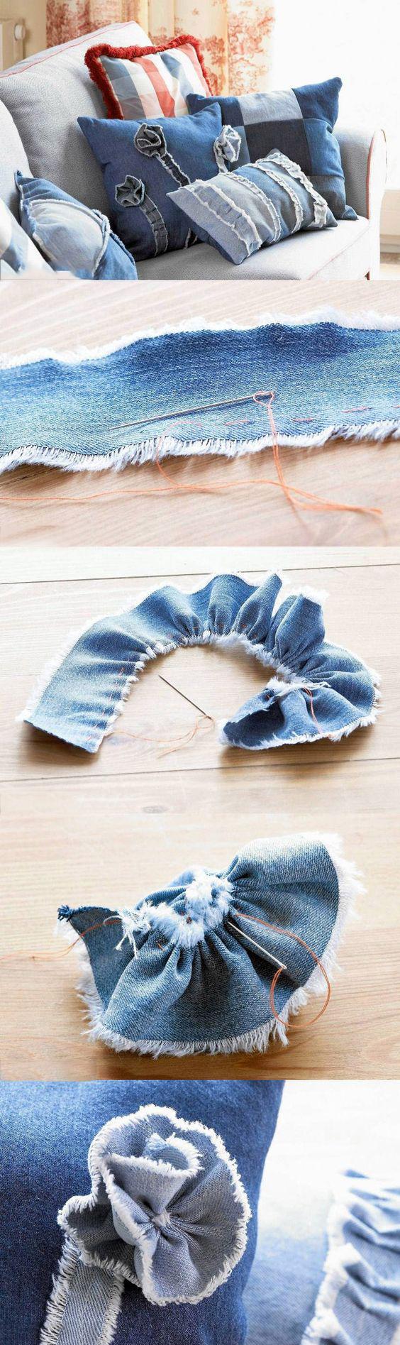 цветы своими руками из джинсовой ткани