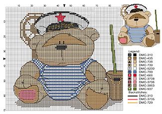 Мишка в тельняшке схема вышивки крестиком на 23 февраля