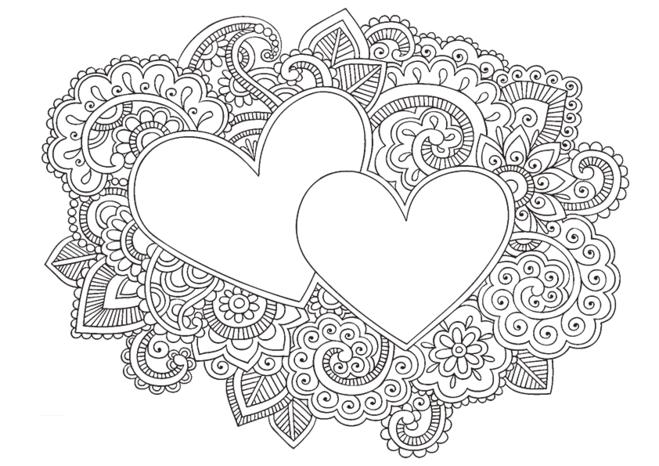 раскраска с сердцем