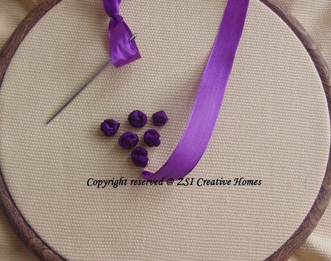 вышивка шелковыми лентами -виноград