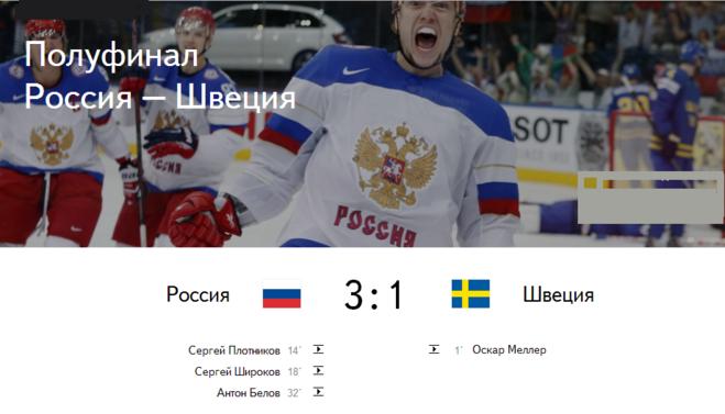 счет в матче швеция россия