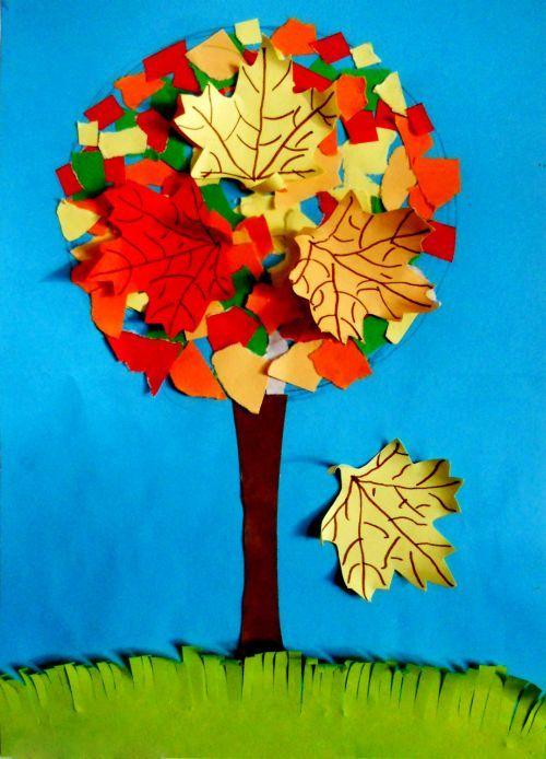 Как сделать осеннее дерево из цветной бумаги