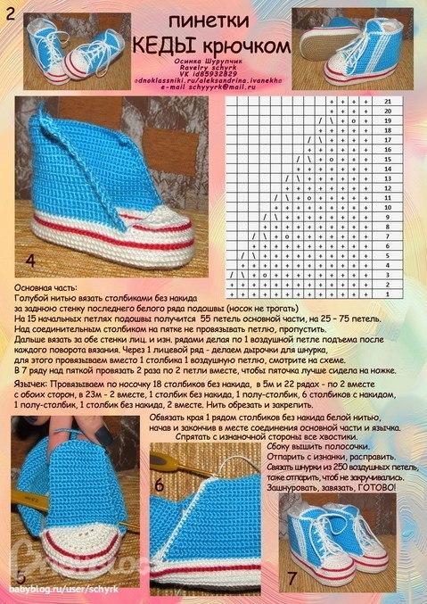 Вязание кроссовок крючком для новорожденных