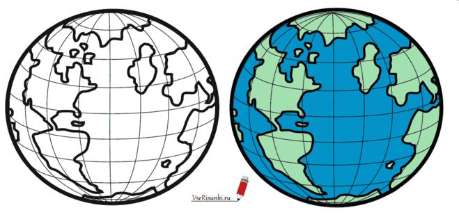 Как нарисовать землю карандашом поэтапно