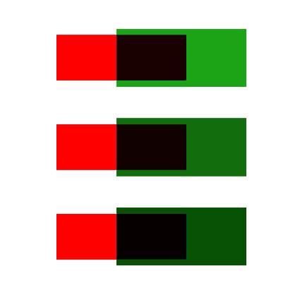 Зеленый и красный цвет смешать