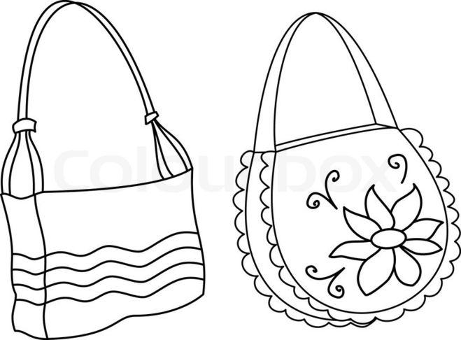 cee263eab0b5 Сложность в рисовании могут представлять ручка сумки и дополнительные  застежки к ней. Продумайте, где они будут находиться. Можно рисовать сумку