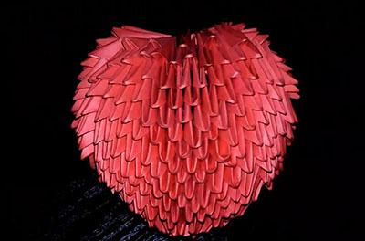 Объемное сердце в технике модульное оригами