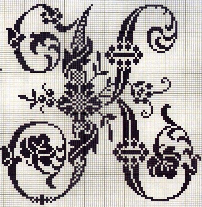 Схема вышивки крестом буква к