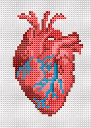 реалистичное сердце вышивка крестиком