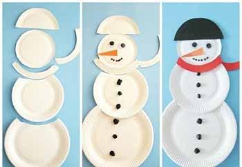 снеговик из бумажных тарелок мастер-класс