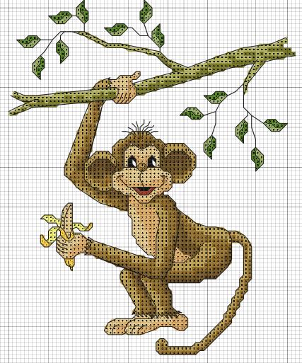 Схема вышивка крестиком обезьянка