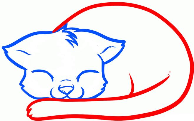 Как нарисовать спящего котенка