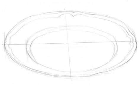 нарисовать сказку Лиса и журавль поэтапно тарелку