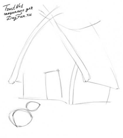 нарисовать теремок карандашом поэтапно