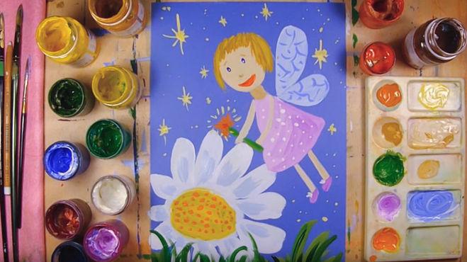 Как нарисовать Цветочную Фею красками - видео-урок для детей 4-7 лет