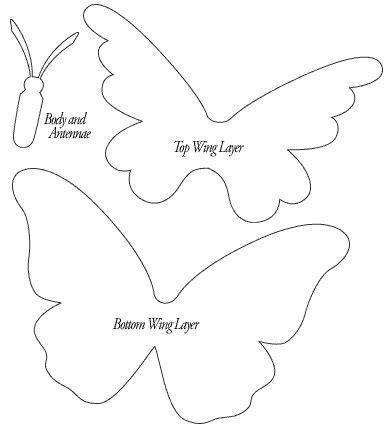 Шаблон, схема, трафарет лекало бабочки аппликация