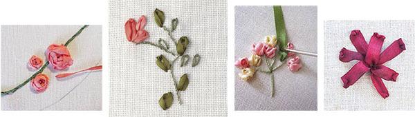 цветы, вышитые из лент