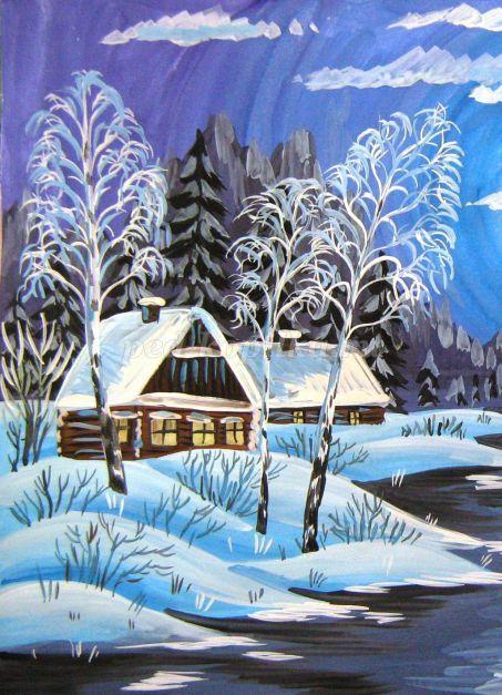 Как нарисовать зимний домик поэтапно для детей - мастер