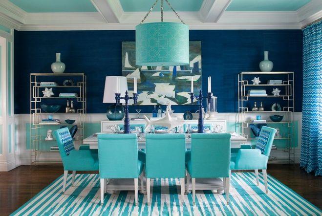 Голубой цвет в интерьере с какими цветами