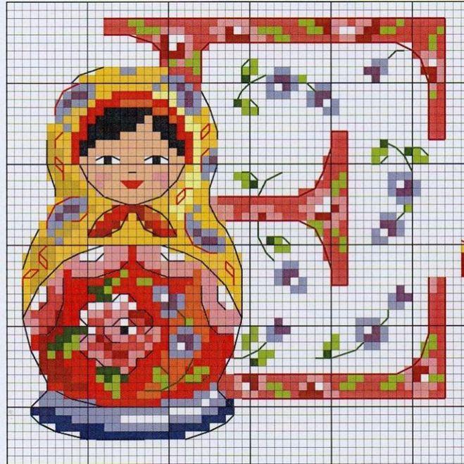Схема к вышивке русская красавица