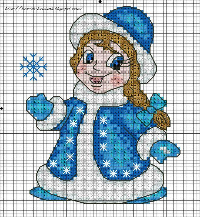 Вышивка крестиком снегурочка