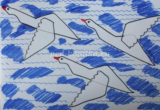 рисунок гуси-лебеди