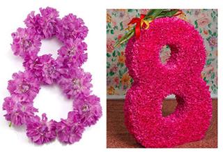 """цифра """"8"""" из бумажных цветов своими руками"""