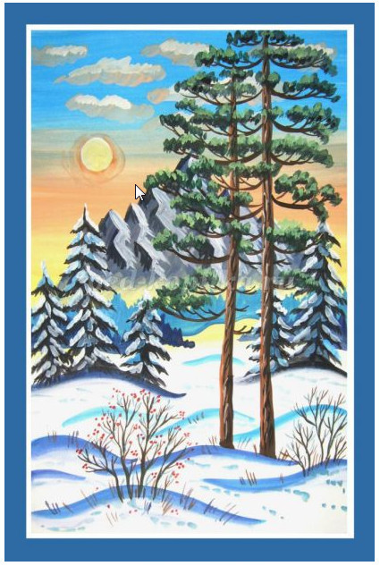 Как нарисовать зимний пейзаж поэтапно для детей мастер-класс