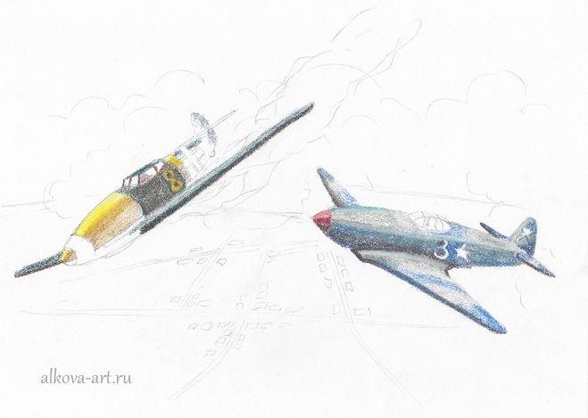 военный самолет схема рисования