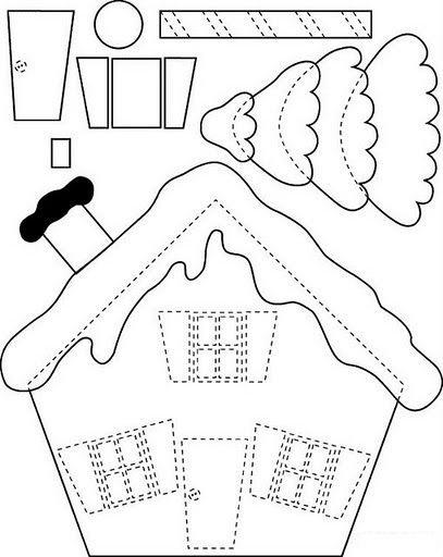 схема домик из фетра на новый год