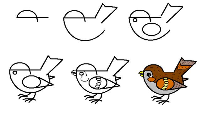 Рисуем птиц поэтапно гуашью 193