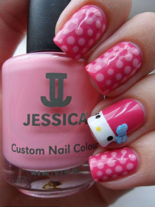 рисунок на ногтях с  Hello Kitty