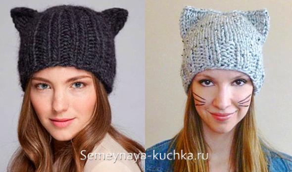 как связать шапку с кошачьими ушками