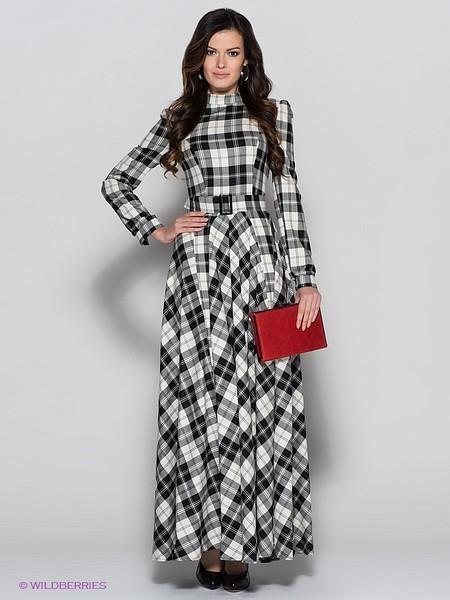 Платье в клетку в пол с чем носить