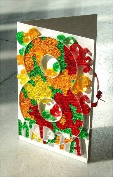 Квилинговые открытки к 8 марта