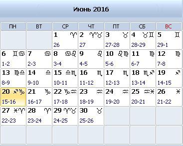 Календарь стрижки волос на 2016 июнь 2016